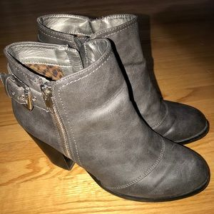 G by Guess Gray Heel Leather Boots